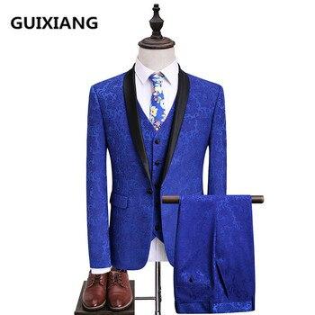(Jacket+Vest+Pants) 2017 autumn High quality Jacquard Men Suits Fashion embroidered suits Men's business wedding Suit men S-5XL