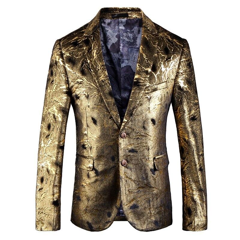 Fashion Luxury Golden Suit Jackets Men Casual Blazer Male Lapel Party Wedding Stage Wear Perform Dress Slim Fit Formal Coat 5XL