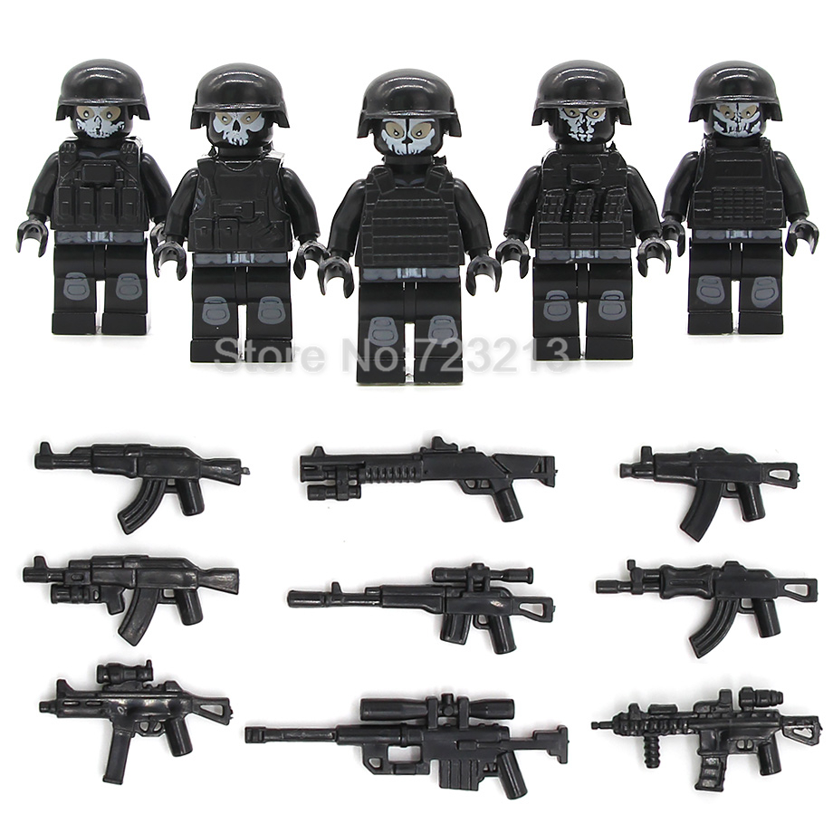 5pcs/lot SWAT Ghost Soldier Military Figure Gun Building Blocks Sets Models Bricks Toys