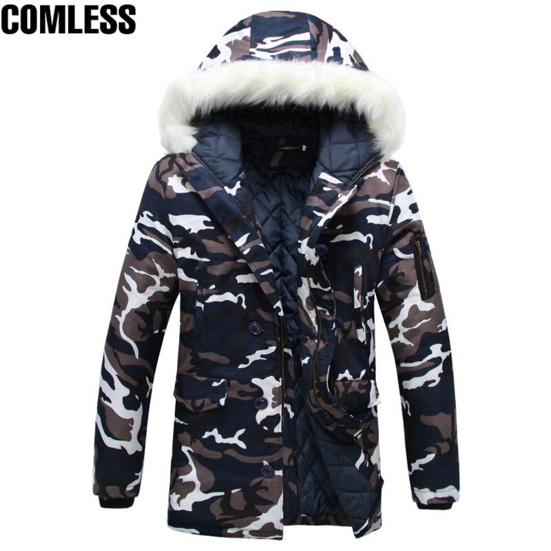 긴 위장 자 켓 남자 2017 새로운 겨울 카 모 Thicken 따뜻한 코트 파 카 남자 양모 모자 디자인 Outwear 자 켓 망 윈드 서핑 5XL