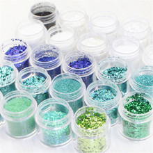 Holographic Effect Nail Mix Glitter Powder 0.2-1mm Size Flakes Decor Dust For 10ml/Jar