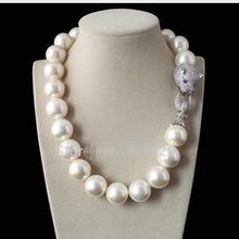 Настоящий продаваемый Огромный 14 мм натуральный белый жемчуг из жемчуга в виде раковины Южно-морского моря, Круглый бисер, ожерелье, ювелирный бисер, серебро 925 пробы, свадебный подарок для женщин