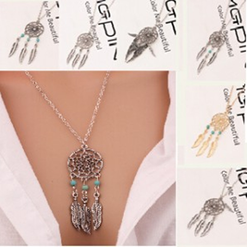 1 pc hot sale Unique Design Retro Dream Catcher Pendant Faddish Special Chain Necklace 6 style fine jewelry
