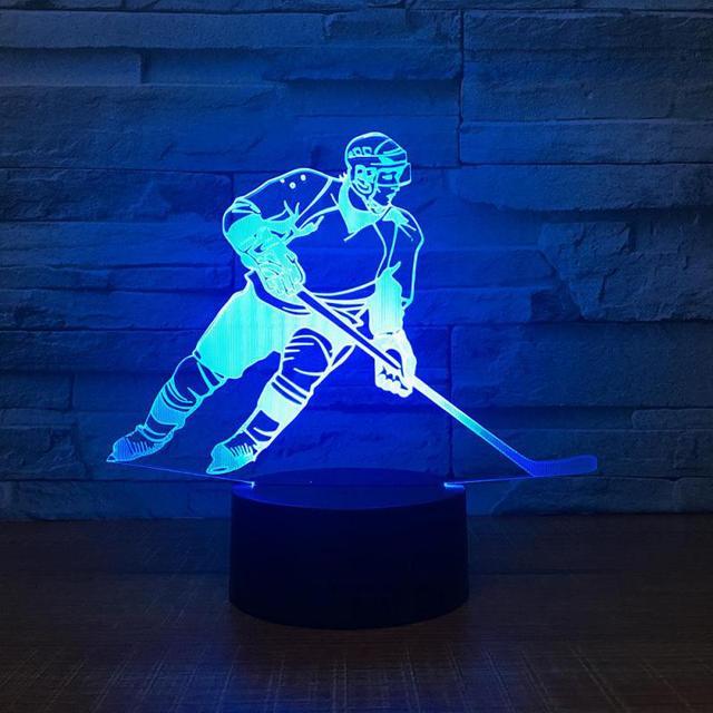 Hoki Warna Akrilik Malam Lampu LED Suasana Samping Tempat Tidur Dekorasi LED USB 3D Lampu Kustom Hoki Es 3D Lampu