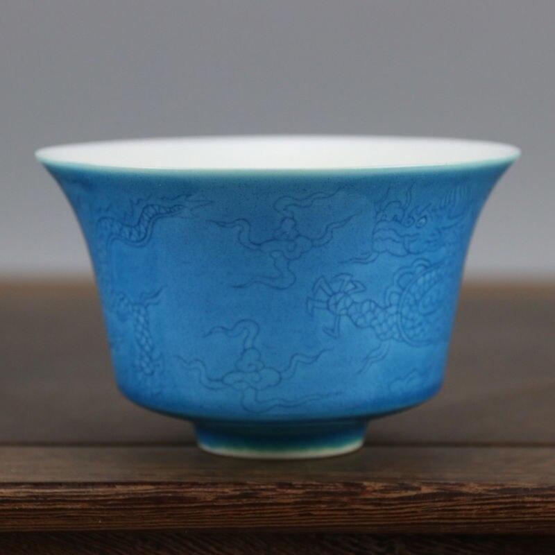 Chine antique porcelaine fait à la main MING CHENGHUA bleu glaçure dragon tasse à thé bol