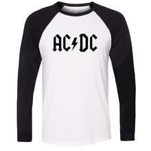 IDzn Unisex Rock Band ACDC Malcolm Angus Brian Cliff Phil Letter Print T-shirt Raglan Long Sleeve T Shirt Men Women Fashion Tops цена 2017