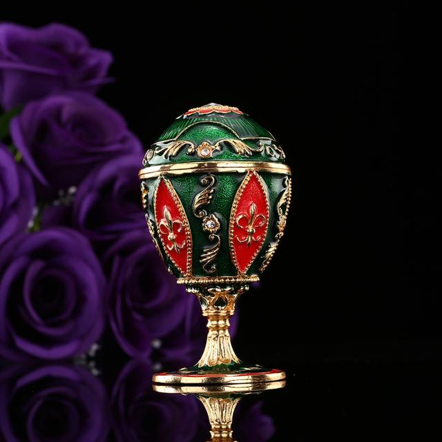 QIFU New arrive red color Easter egg trinket box Faberge