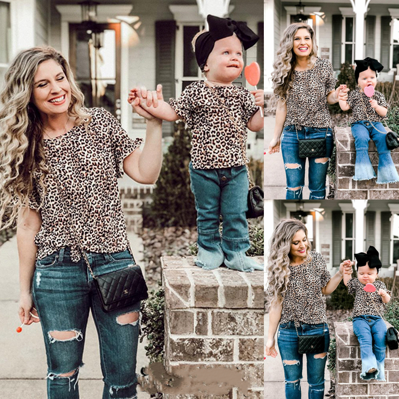Lovely Family Matching Clothes Mommy And Me Mother And Daughter Summer Leopard T-shirt Tops Tee Tops Blouse