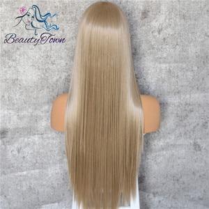 Image 4 - BeautyTown שנהב בלונד 13x6 משלוח חלק Futura ללא סבך עמיד בחום שיער יומי חתונה שכבה סינטטי תחרה מול פאה