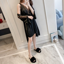 Luxury Women Silk Robe and Gown Set Sexy Lace Trim Backless Night Dress and Knee Length Robe 2PCS Night Suit Sleepwear Home Wear