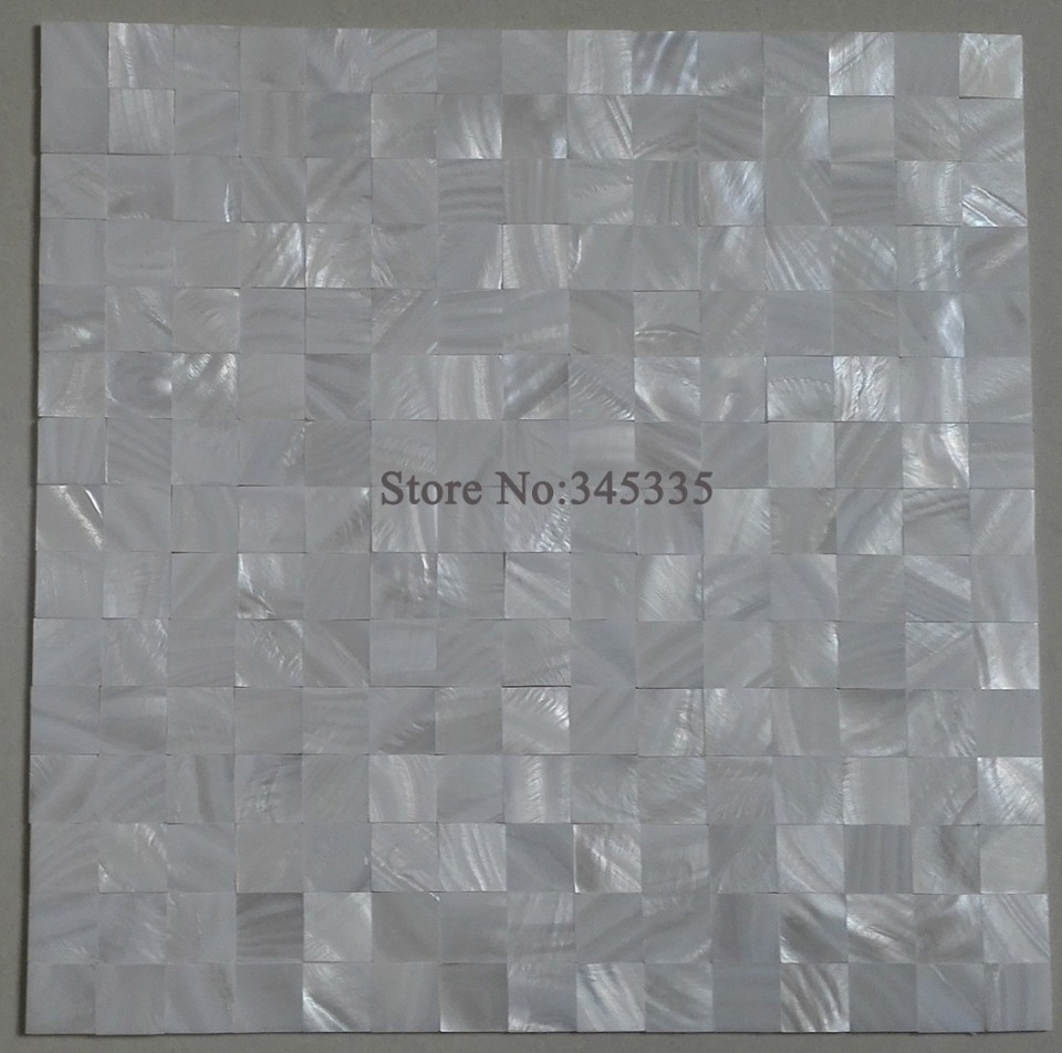 - Groutless White Square Mother Of Pearl Shell Mosaic Kitchen