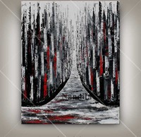 Abstract Black White and Red Stripe Waterfall Landscape Painting for Home Decor Pop Hand Painted Oil Painting on Canvas