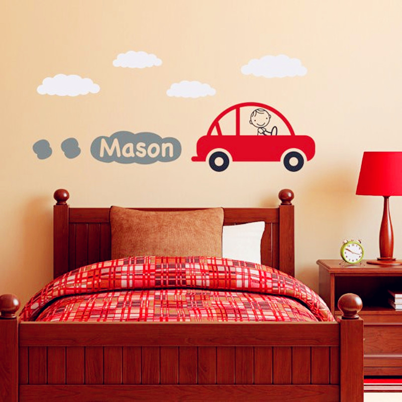 Car Decal with Personalized Boys Name Vinyl Wall Art - Children Wall Mural Baby Kids Room Wall Sticker Home Decor Fashion Design