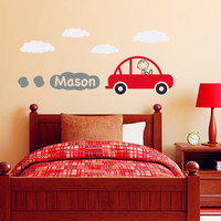 Car Decal With Personalized Boys Name Vinyl Wall Art Children Wall Decals Baby Kids Room Wall