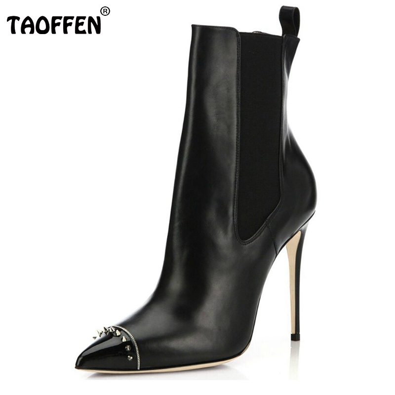 ФОТО New Elegant Women Ankle Boots Fashion Rivets Zip Poined Toe Thin Heels High-quality Heeled Shoes Woman Size 35-46 B119