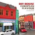 1: 64 сплава модели Автомобиля Diy хижина ручной сборки модель игрушки Европейский здание хижина дом Мальчик девочка лучших подарок