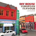 1: 64 modelo de coche de aleación diy hecho a mano cabaña montar juguete modelo de casa choza edificio europeo muchacha del muchacho de la mejor regalo