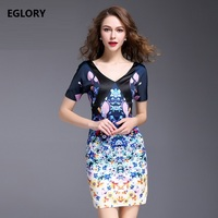 V-Neck Print Dress New Summer Fashion 2017 Women Charming Floral Print Short Sleeve Slim Fitted Dress Brief Party Ladies XXXL