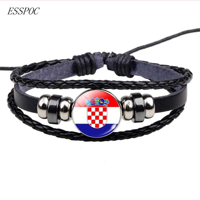 Pulsera de cuero de fútbol de cristal de fútbol hebilla de Metal Punk joyería Francia Rusia Reino Unido bandera pulsera hombres mujeres Punk