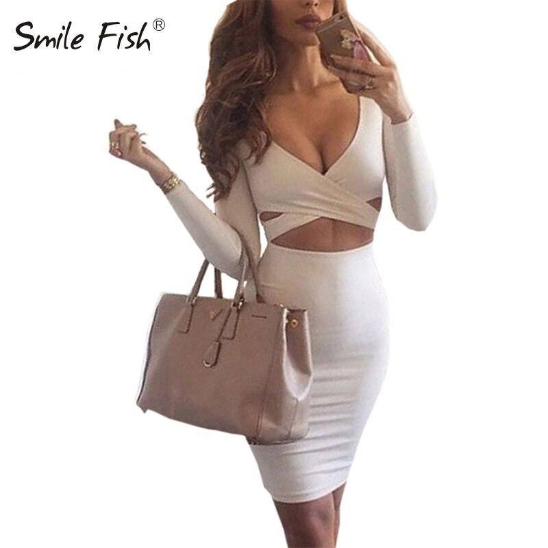 Сексуальное облегающее Бандажное платье с длинным рукавом эластичные теплые элегантные Платья для вечеринок 2018 Сексуальная Миди карандаш клуб Bodycon M0522