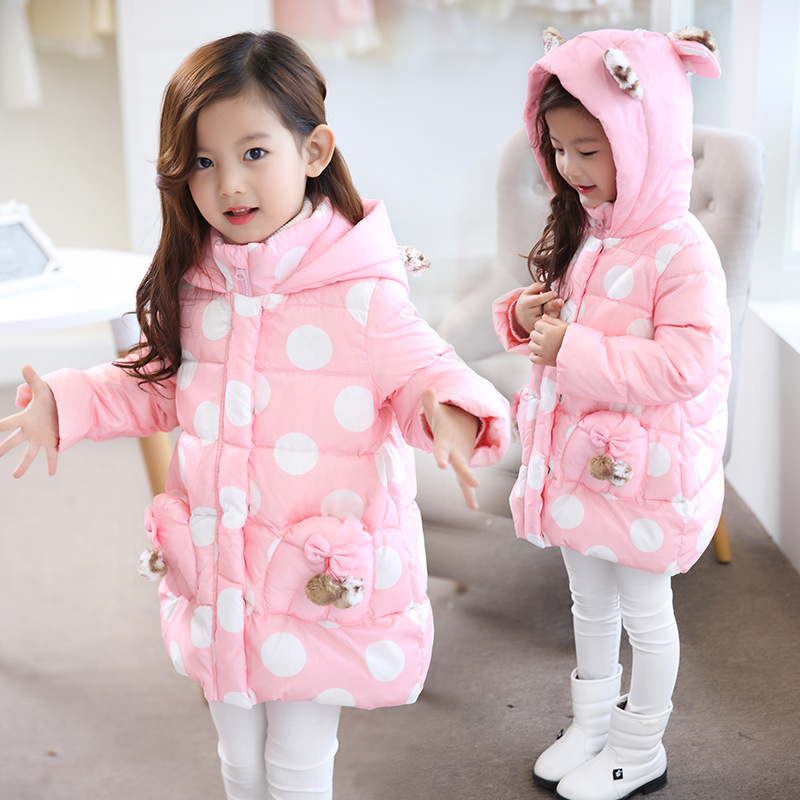 2017 New Kids Winter Outerwear Girls Cute Polka Dot Zipper Leopard Hooded Cotton-padded Jacket Long Kids Outdoor Snow proof Coat good quality children winter outerwear 2016 girls cotton padded jacket long style warm thickening kids outdoor snow proof coat
