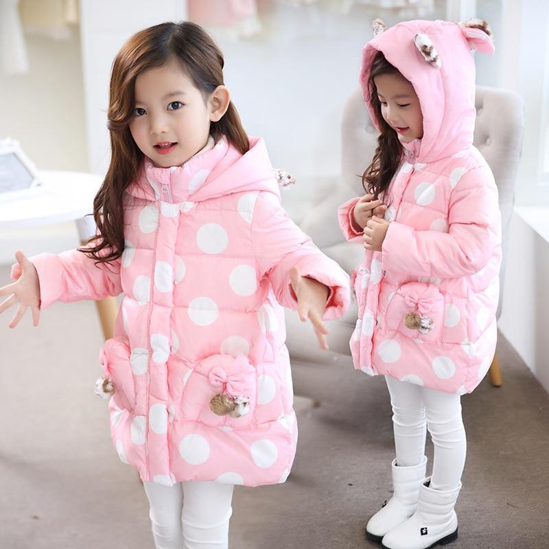 2017 New Kids Winter Outerwear Girls Cute Polka Dot Zipper Leopard Hooded Cotton-padded Jacket Long Kids Outdoor Snow proof Coat