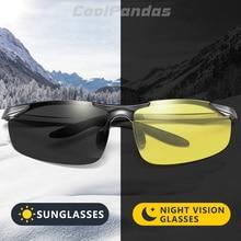 Alumínio magnésio photochromic polarizado óculos de sol homem condução dia noite visão motorista óculos de sol masculino