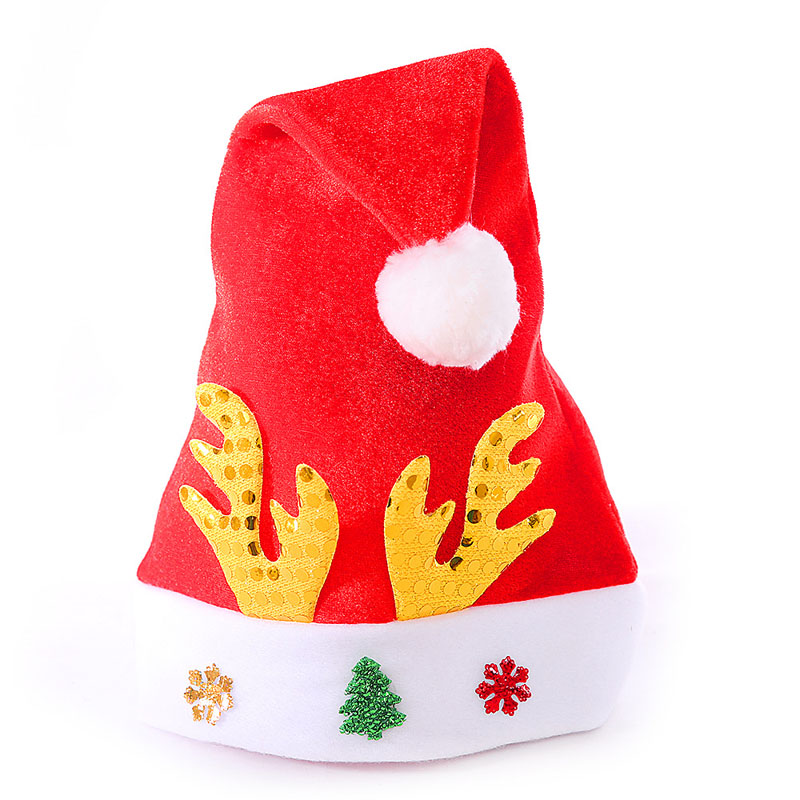 free shipping 150PCS/LOT Adult Christmas Reindeer Hat Caps Cute Xmas Santa Claus Cap Xmas Gift Red Antlers Christmas Party