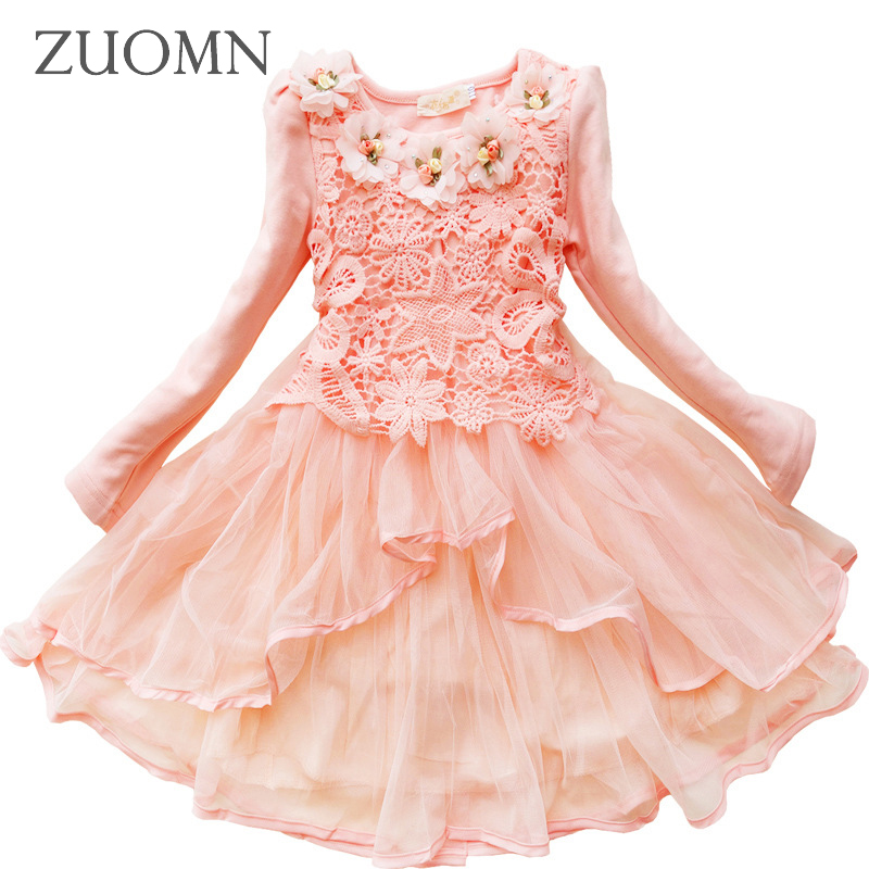 Girls Dress Lace Flower Autumn Dress Pink Dresses Baby Girl Clothes Birthday Dress Kids Clothes Princess New Year Party GH360 new 2016 fshion flower girl dress kids clothing party wedding birthday girls dresses baby girl white pink rose dress