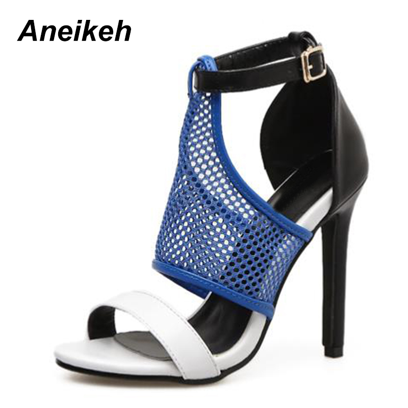 Aneikeh 2018 Women Pumps Peep Toe Mixed Color High Heels Woman Buckle Strap Thin Heel Mesh Zapatos Mejur Size 35-40 туфли на высоком каблуке 2015 toe zapatos de 35 40 41 42 high heels