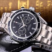 Nova Marca Mens Chronograph Relógio de Pulso Multifunções Top Homens de Aço Inoxidável Marca de Luxo de Genebra Relógio De Quartzo 2017