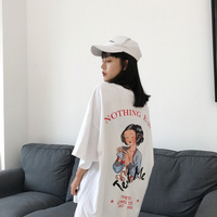 Summer Korean Style Loose All Match Female T Shirt Printing O Neck Solid T Shirt Vintage