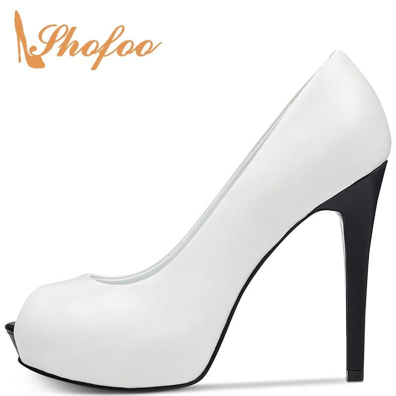 White And Black Peep Toe Stilettos Platform Pumps Woman High Thin Heels Large Size 11 16 Female Office Ladies Shoes Mature 2019
