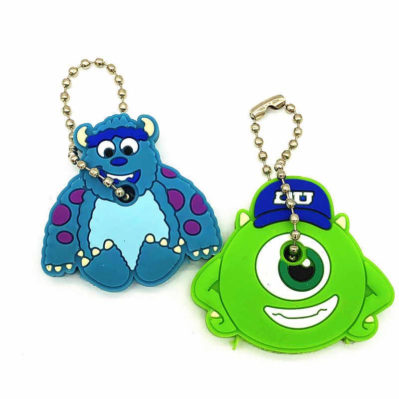 2 teile/satz Nette Cartoon Minnie Monster Silikon Keychain Für Frauen/Mann Schlüssel Abdeckung Schlüssel Kappen Schlüssel Ring Schlüssel Halter kinder Geschenk Schlüssel ketten
