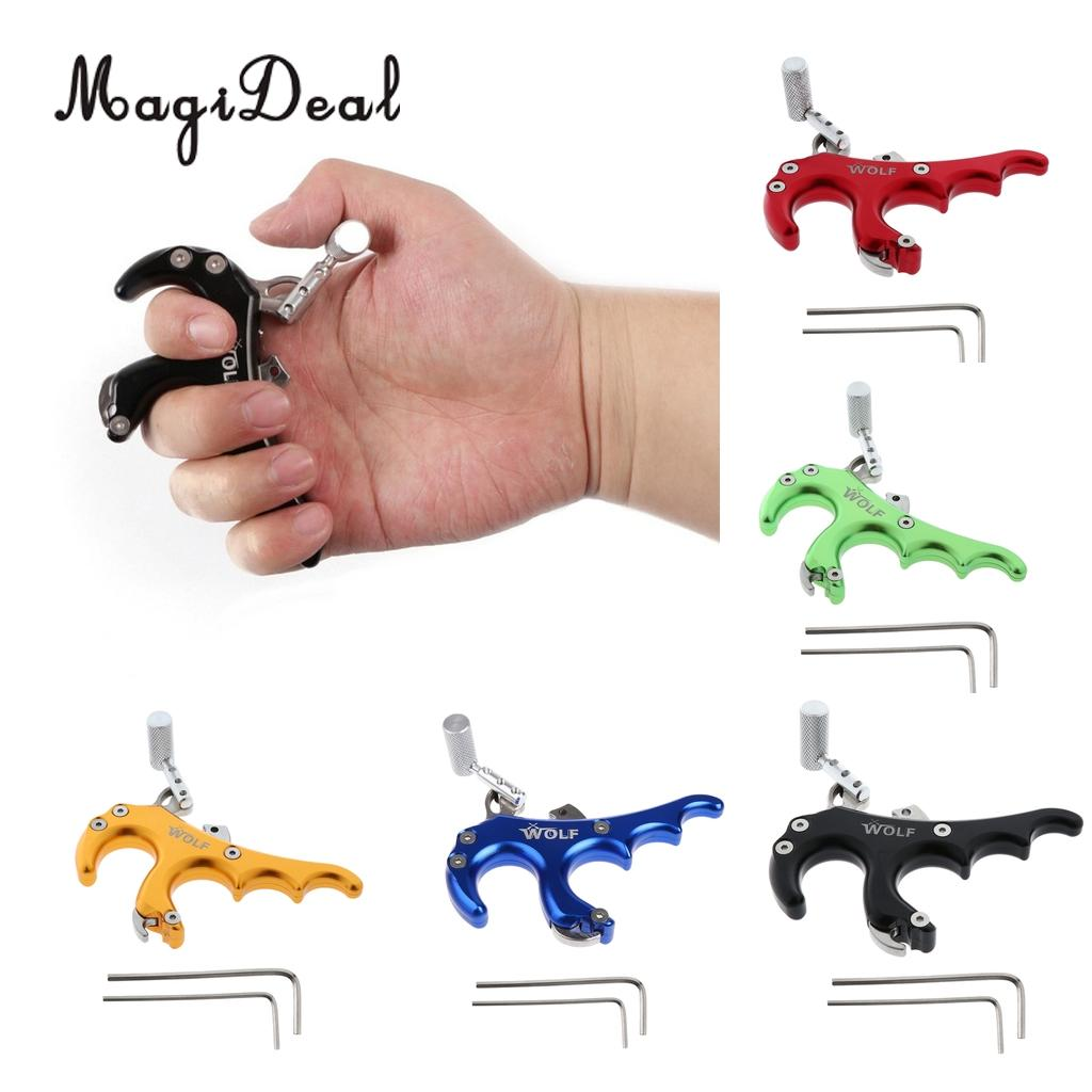 Outdoor 4 Finger Grip Archery Bow Release Aid Trigger for Compound Bow for Hunting Shooting 1x elong outdoor black color archery caliper release aid compound bow strap shooting pro arrow trigger wristband free shipping