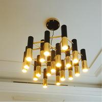 Nordic Delightfull Ike Metal Tube Black Gold LED Pendant Lights Lamp Lobby Living Room Hotel Cafe