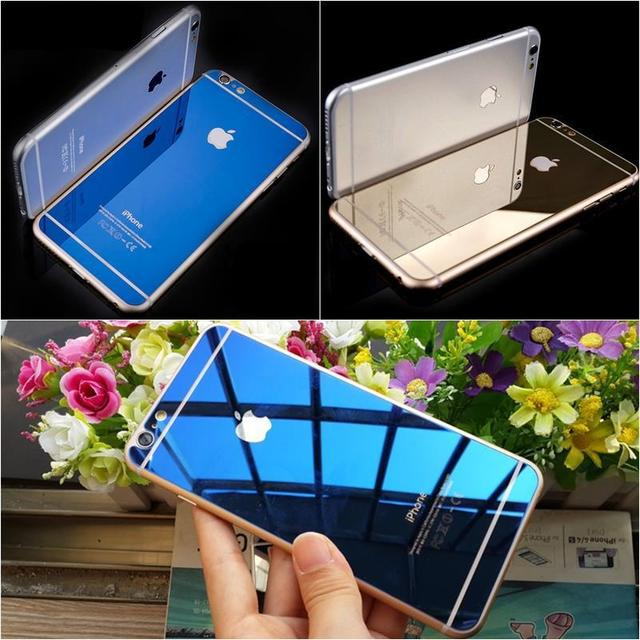 e816bdfb23b Front+Back Tempered Glass For iPhone 4 4s 5 5s 6 4.7 6s plus Full Cover  Screen Protector Mirror Effect Color protective film