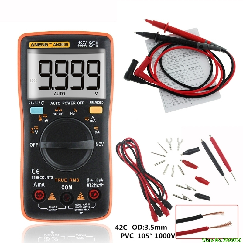 AN8009 True-RMS Auto Range Digital-Multimeter NCV Ohmmeter AC/DC Spannung Amperemeter Meter temperatur messung
