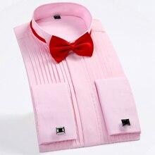 Тренд для мужчин торжественное платье рубашки для мальчиков одноцветное Свадебная вечеринка с длинными рукавами французский запонки