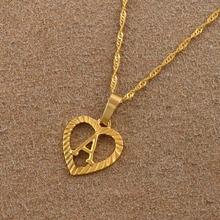 Золотой цвет английский начальный A-Z буквы Шарм Алфавит кулон ожерелья для женщин девочек Ювелирные изделия Подарки# J0291