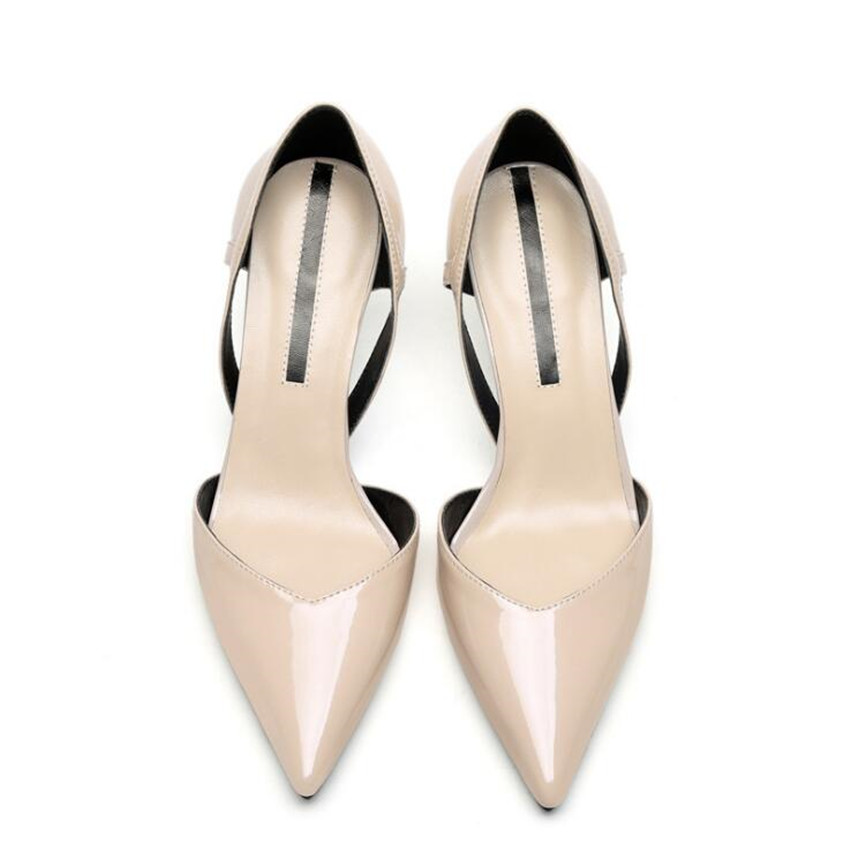 ZOUDKYThe Korean version 2018 cattle leather pointed stilettos sandals female shoes