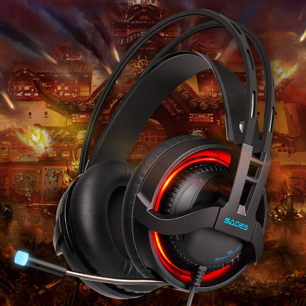 Hot New SADES R2 USB Gaming Headset Over-ear Headphone 7.1 Channel Surround Sound Bass Treble LED Light with Mic for PC Computer somic g910i gaming headset 7 1 surround sound vibration usb with mic bass headphone led light big earphones for computer ps4 pc