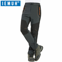 IEMUH Brand New S 4XL Winter Men Hiking Pants Outdoor Softshell Trousers Waterproof Windproof Thermal Camping
