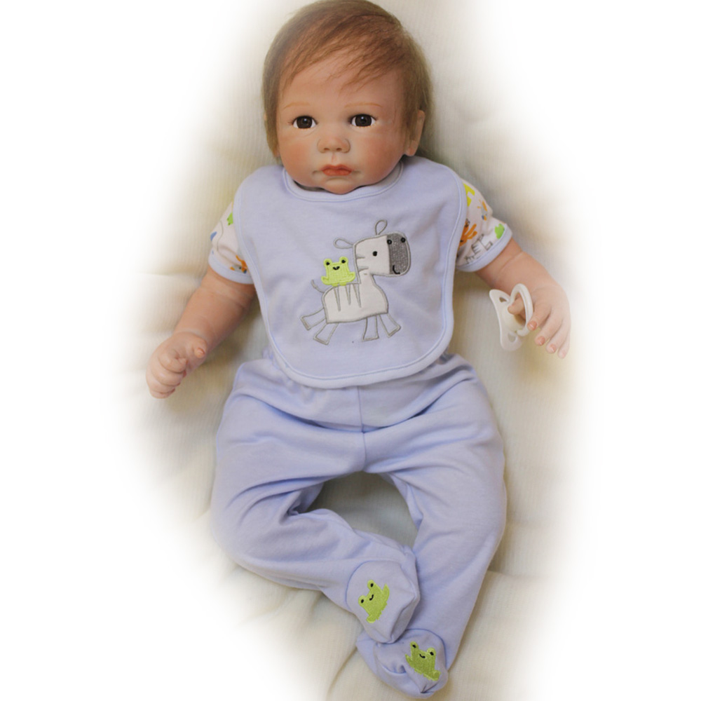 50-55CM Silicone Doll Reborn Baby Boy Lovely Realistic Handmade Cloth Body opened Eyes Dolls Toys Growth Partners Gift for kids partners lp cd