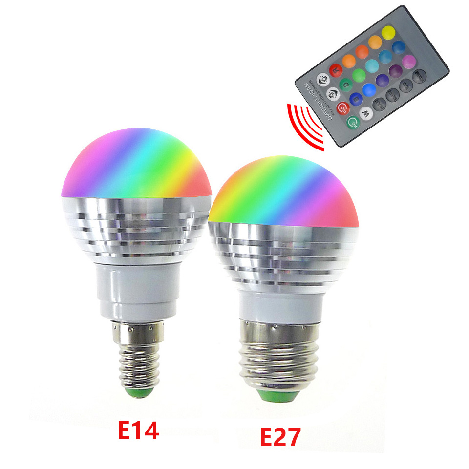1PCS Color Changing Spotlight LED RGB Bulb with Memory E14 E27 LED Lamp Remote Light 24 Key Controller For Home Decoration 3w e27 1 led rgb light bulb with remote controller 1x cr2025