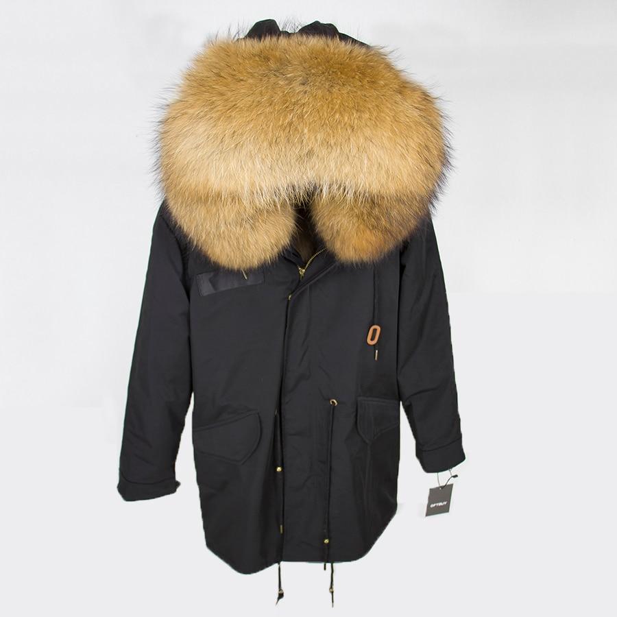 2019 Real Fur Coat Winter Jacket Women Long Parka Waterproof Big Natural Raccoon Fur Collar Hood Thick Warm Real Fox Fur Liner 91