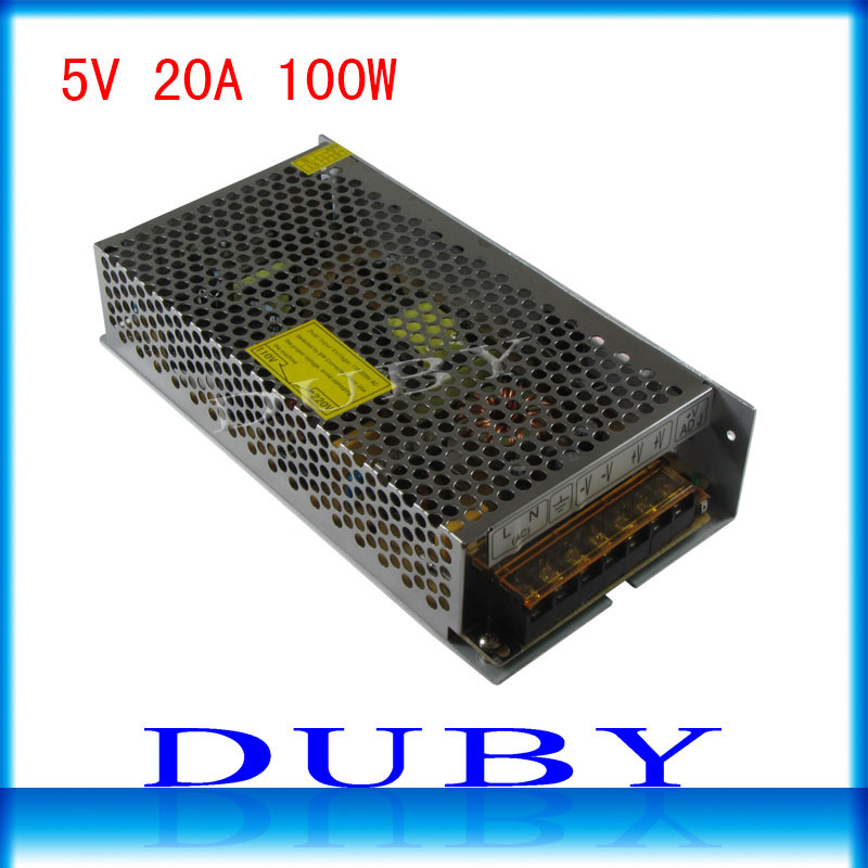 100piece/lot 5V 20A 100W Switching power supply Driver For LED Light Strip Display Factory Supplier  Free Fedex ac 85v 265v to 20 38v 600ma power supply driver adapter for led light lamp