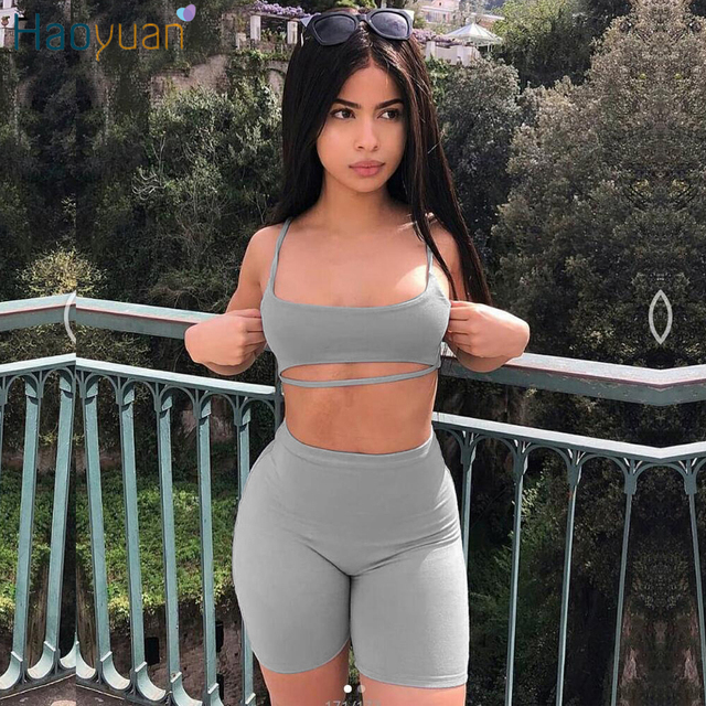 f081d10f8136 HAOYUAN Sexy Two Piece Set Women Bodycon Matching Sets Crop Tops and Biker  Shorts Sweat Suits Summer Outfits 2 Pcs Tracksuit