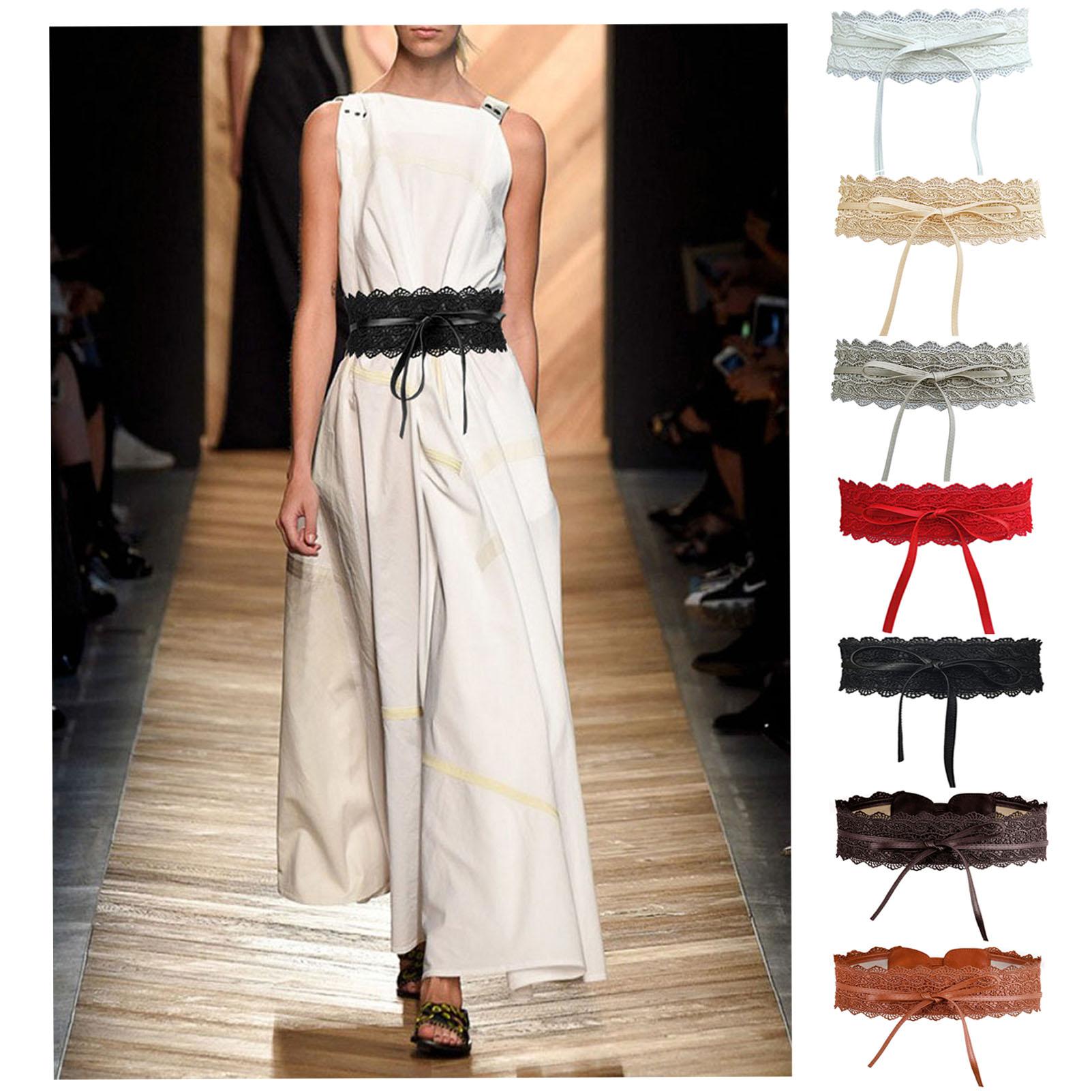 Womens Lace Waist Belt Soft Faux Leather Boho Band Corset Fashion Accessories For Dresses