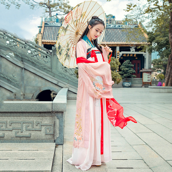 2432850874 Chino tradicional baile traje Rosa trajes Hanfu para mujeres cantantes